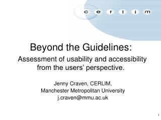 Beyond the Guidelines: Assessment of usability and accessibility from the users' perspective.