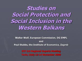 Studies on Social Protection and Social Inclusion in the Western Balkans