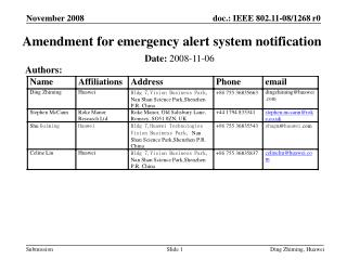 Amendment for emergency alert system notification