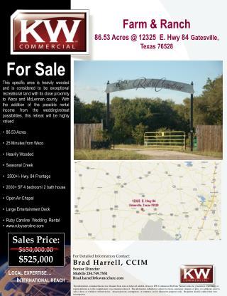 Farm & Ranch  86.53 Acres @ 12325  E. Hwy 84 Gatesville, Texas 76528