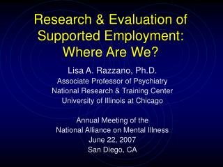 Research & Evaluation of Supported Employment:  Where Are We?