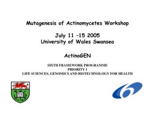 Mutagenesis of Actinomycetes Workshop July 11 –15 2005 University of Wales Swansea ActinoGEN