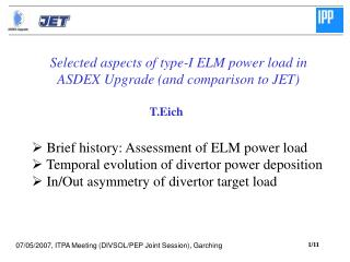 Selected aspects of type-I ELM power load in  ASDEX Upgrade (and comparison to JET)