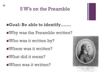 5 W's on the Preamble