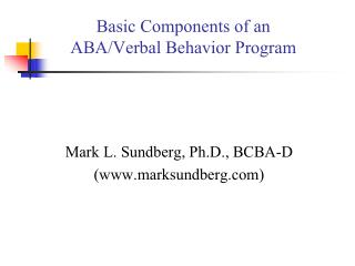 Basic Components of an  ABA/Verbal Behavior Program