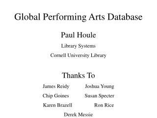 Global Performing Arts Database