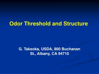 Odor Threshold and Structure