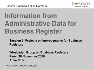 Information from Administrative Data for Business Register