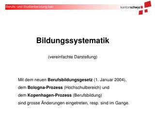 Bildungssystematik (vereinfachte Darstellung)