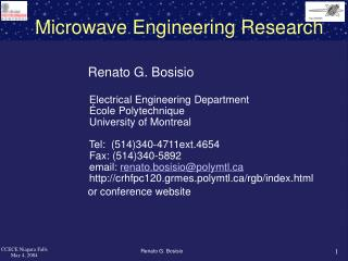 Microwave Engineering Research