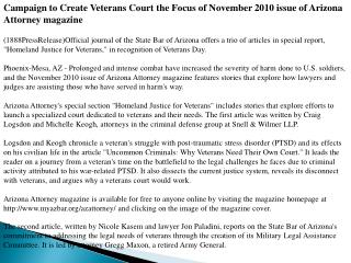 Campaign to Create Veterans Court the Focus of November 2010