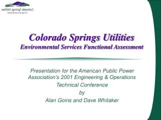Colorado Springs Utilities Environmental Services Functional Assessment