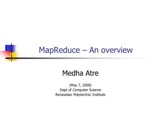 MapReduce – An overview