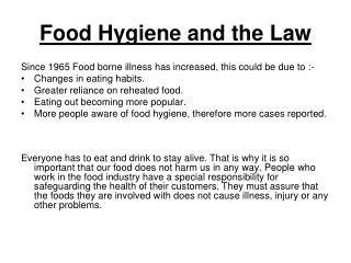 Food Hygiene and the Law