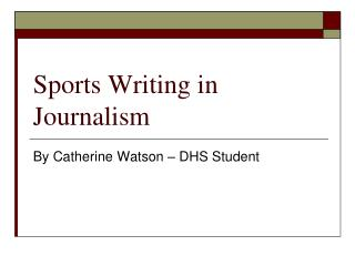 Sports Writing in Journalism
