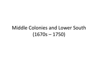 South Carolina  Slavery 1670s-1740