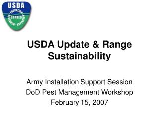 USDA Update  Range Sustainability