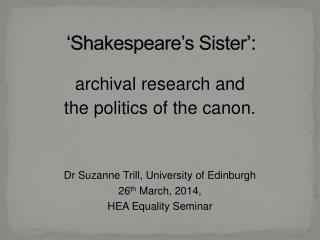 'Shakespeare's Sister ':