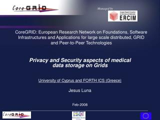 Privacy and Security aspects of medical data storage on Grids