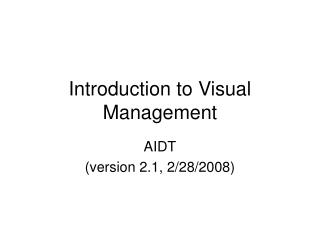 Introduction to Visual Management