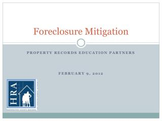 Foreclosure Mitigation
