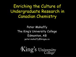 Enriching the Culture of Undergraduate Research in Canadian Chemistry