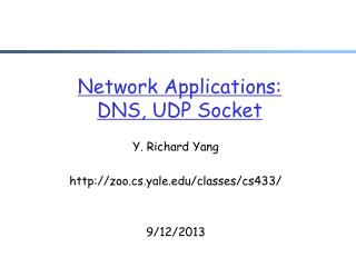 Network Applications: DNS, UDP Socket