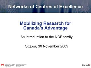 Mobilizing Research for  Canada's Advantage
