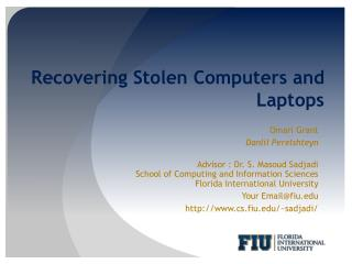 Recovering Stolen Computers and Laptops