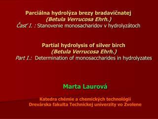 Marta Laurová Katedra chémie a chemických technológií