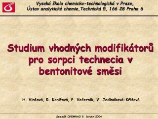 Vysoká škola chemicko-technologická v Praze,  Ústav analytické chemie,Technická 5, 166 28 Praha 6