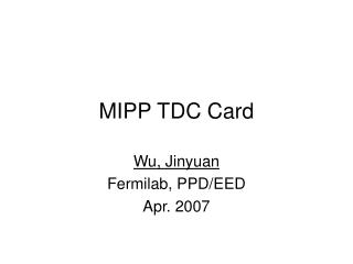 MIPP TDC Card
