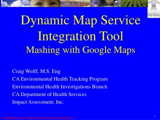 Dynamic Map Service Integration Tool Mashing with Google Maps