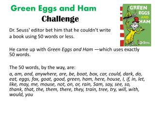 Green Eggs and Ham  Challenge