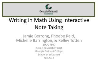 Writing in Math Using Interactive Note Taking