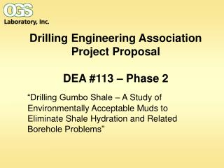 Drilling Engineering Association Project Proposal  DEA 113   Phase 2