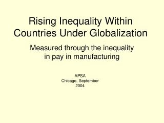 Rising Inequality Within Countries Under Globalization