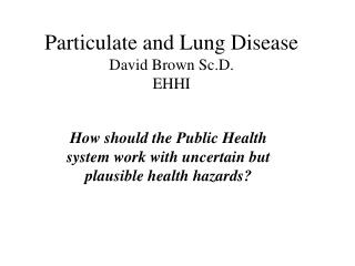 Particulate and Lung Disease David Brown Sc.D. EHHI