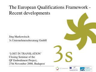 The European Qualifications Framework -  Recent developments