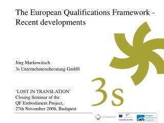The European Qualifications Framework -  Recent developments
