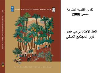 تقرير التنمية البشرية لمصر 2008 العقد الاجتماعي في مصر  :  دور المجتمع المدني