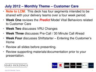 July 2012 – Monthly Theme – Customer Care