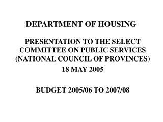 DEPARTMENT OF HOUSING