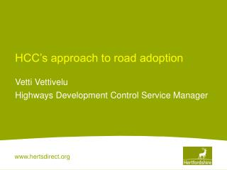 HCC's approach to road adoption