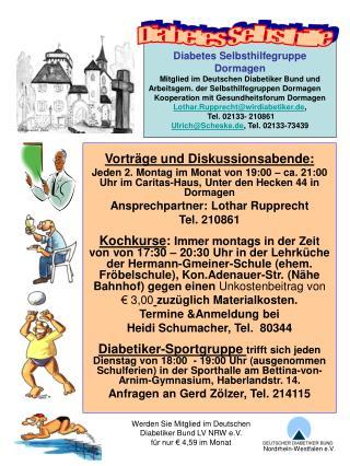 Diabetes Selbsthilfegruppe Dormagen Mitglied im Deutschen Diabetiker Bund und