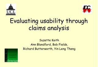 Evaluating usability through claims analysis