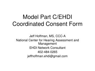Model Part C/EHDI Coordinated Consent Form