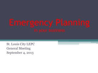 Emergency Planning in your business