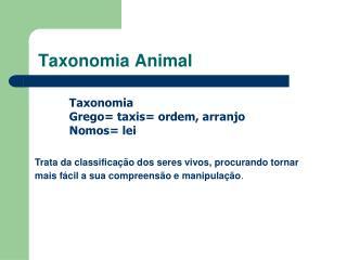 Taxonomia Animal