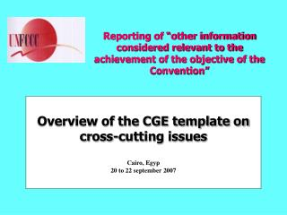 Overview of the CGE template on cross-cutting issues Cairo, Egyp  20 to 22 september 2007